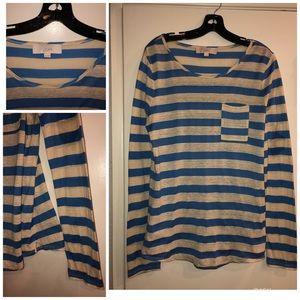 ANN TAYLOR LOFT striped long sleeve shirt sz Med